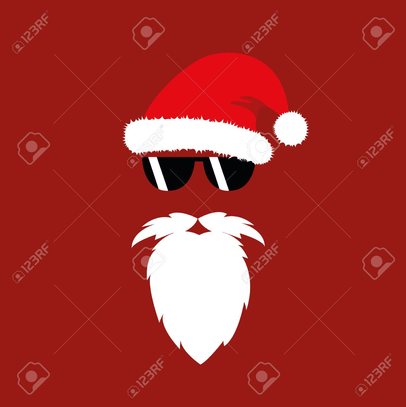 f8b6e901e63 hipster Santa Claus fashion mask with sunglasses vector illustartion EPS10  Stock Vector - 110232340