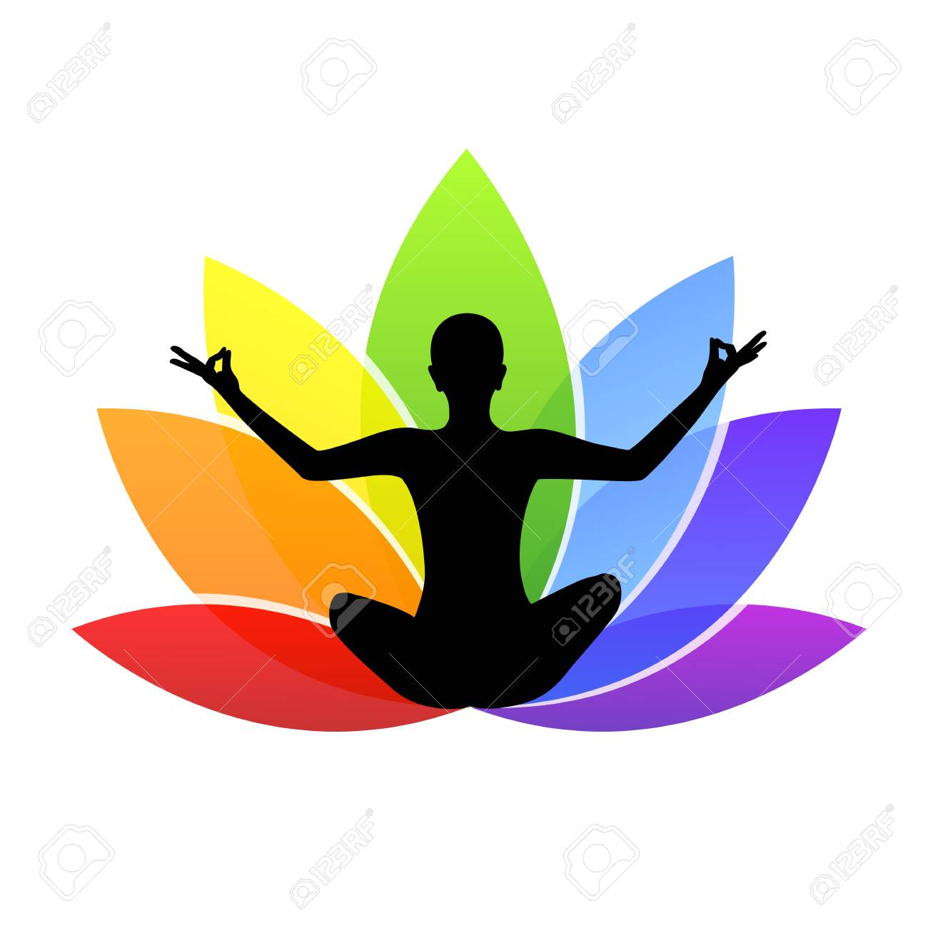 Young Person Sitting In Yoga Meditation Lotus Position Silhouette Royalty Free Cliparts Vectors And Stock Illustration Image 109355092