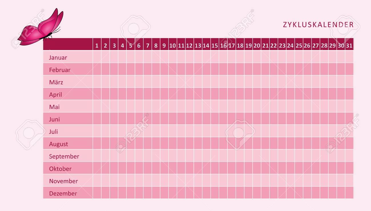 Menstrual Cycle Calendar.Monthly Menstruation Calendar Of Menstrual Cycle With Pink Butterfly