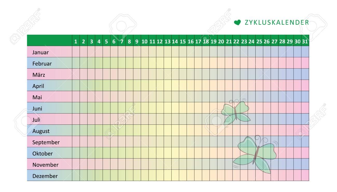 Menstrual Cycle Calendar.Monthly Menstruation Calendar Of Menstrual Cycle With Butterfly