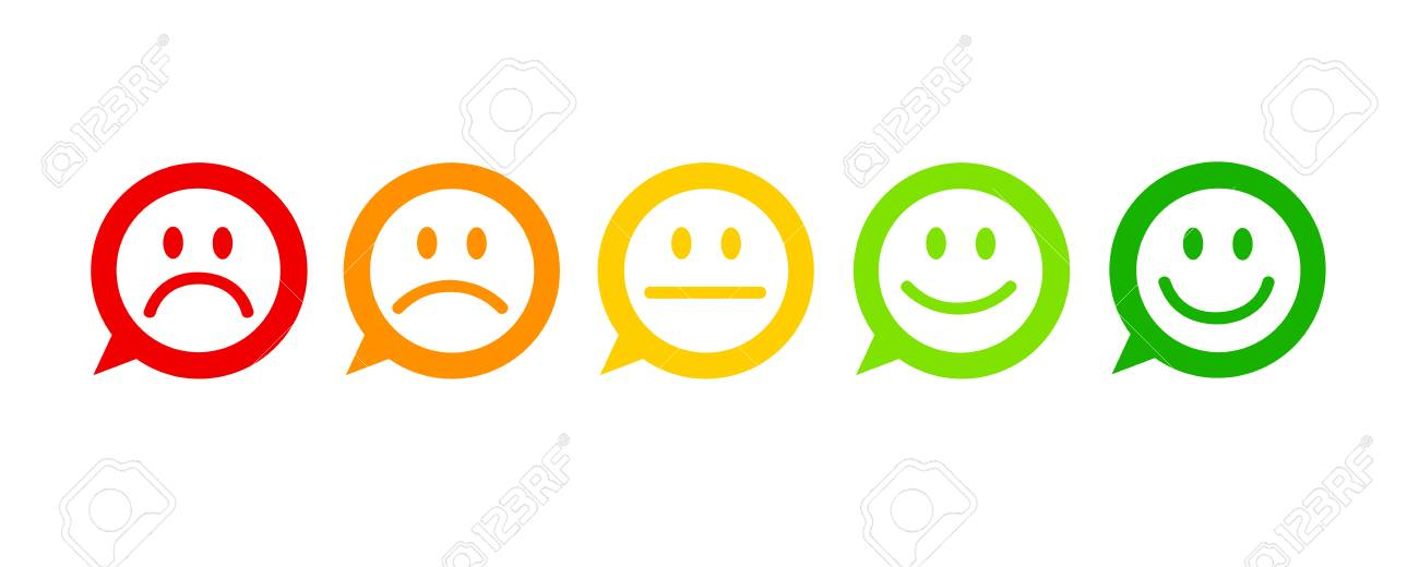 rating satisfaction feedback in form of emotions excellent good normal bad awful speech bubble vector illustration - 109917698