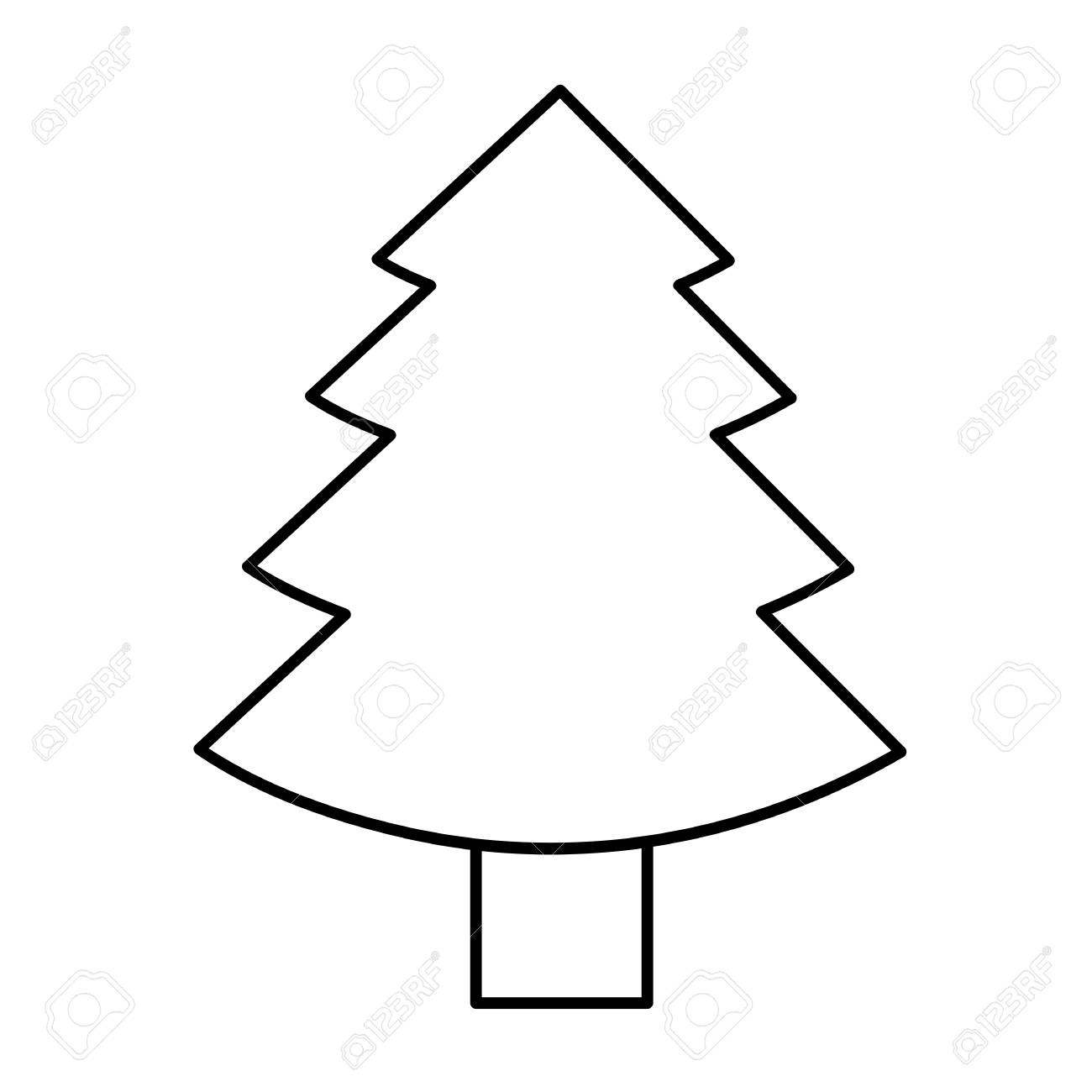 Christmas Tree Fir Simple Icon Pictogram Outline Vector Illustration Royalty Free Cliparts Vectors And Stock Illustration Image 113456986