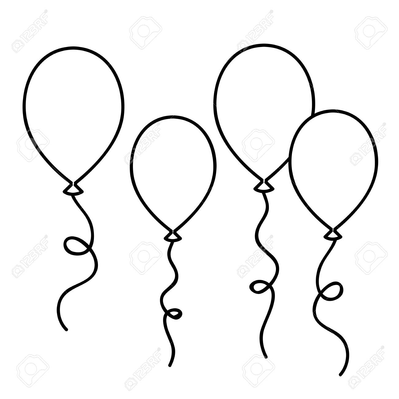 Balloons Simple Drawing Outline For Coloring Book Vector ...