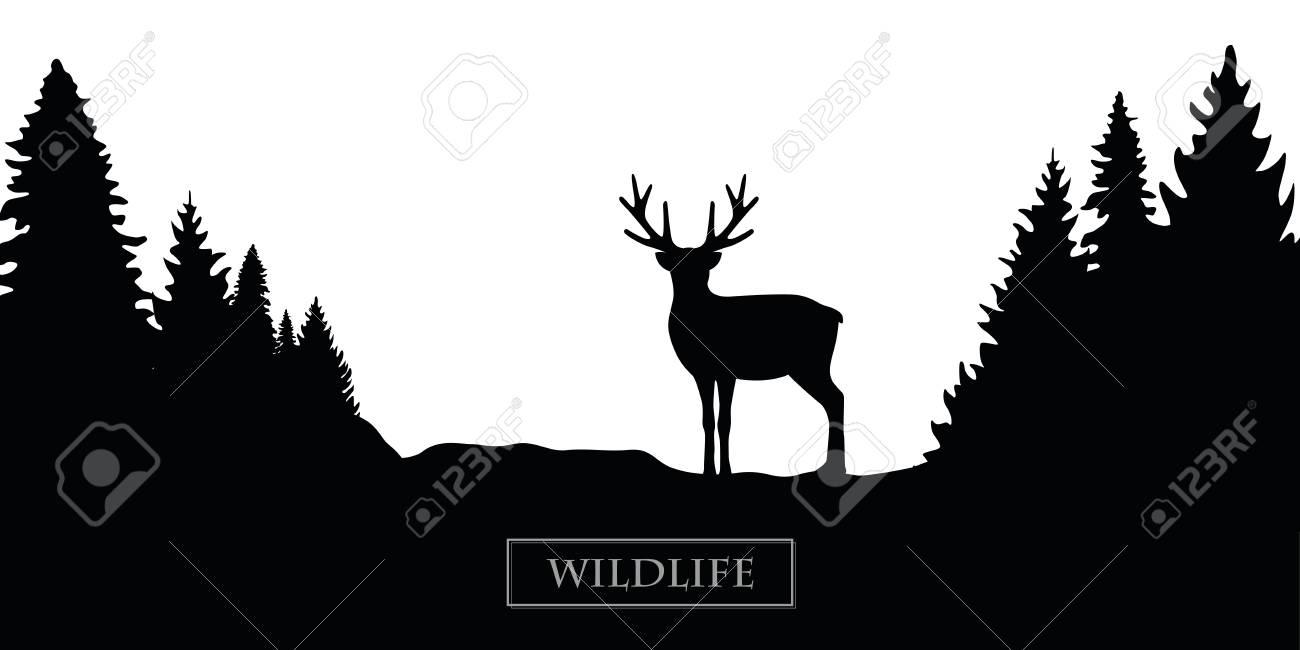wildlife reindeer silhouette forest landscape black and white vector illustration EPS10 - 112902986