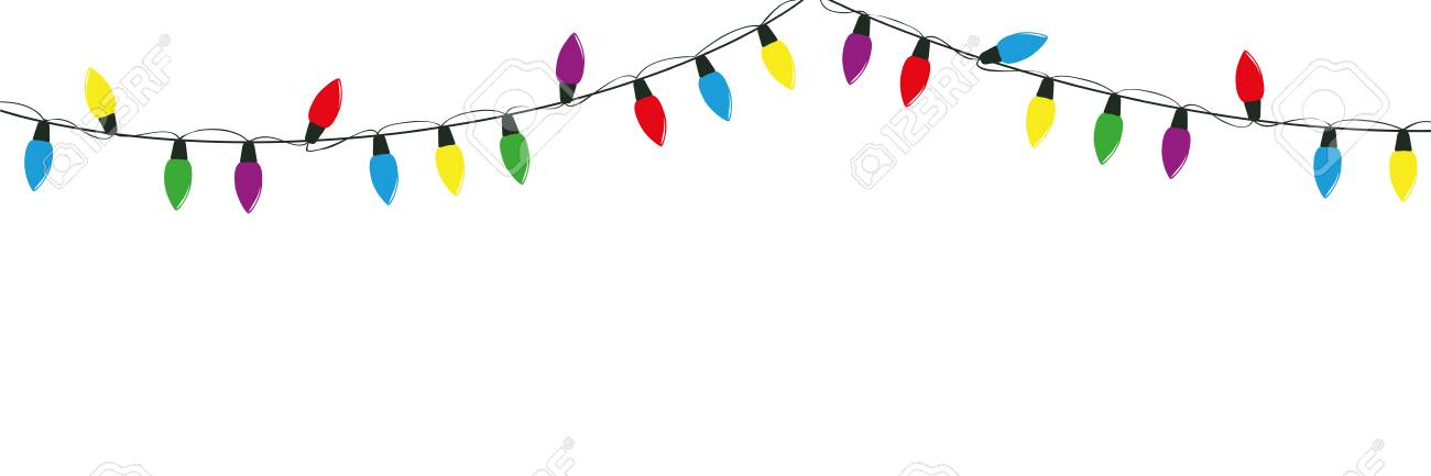 Christmas Fairy Lights Illustration.Colorful Christmas Fairy Lights Decoration Isolated On White