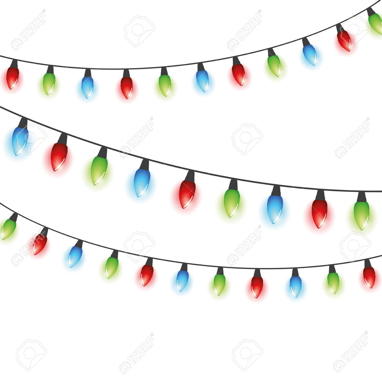 Christmas Fairy Lights Illustration.Colorful Christmas Fairy Lights In Red Green Blue Colors On White