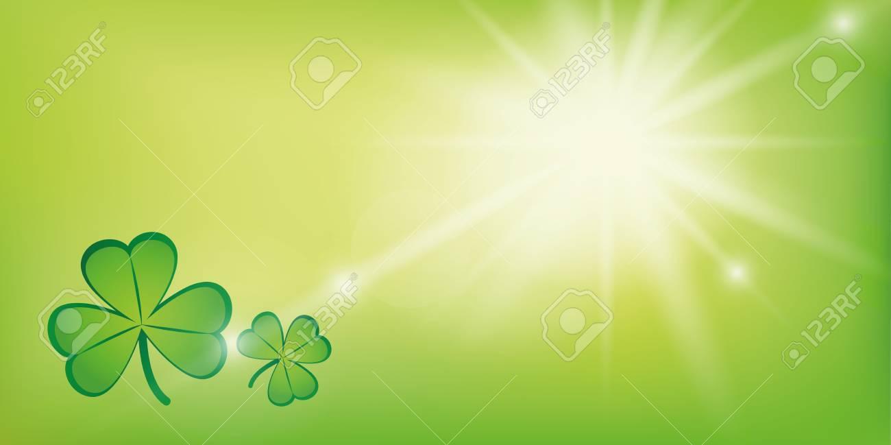 sunny green background with shamrock clover vector illustration EPS10 - 126661798