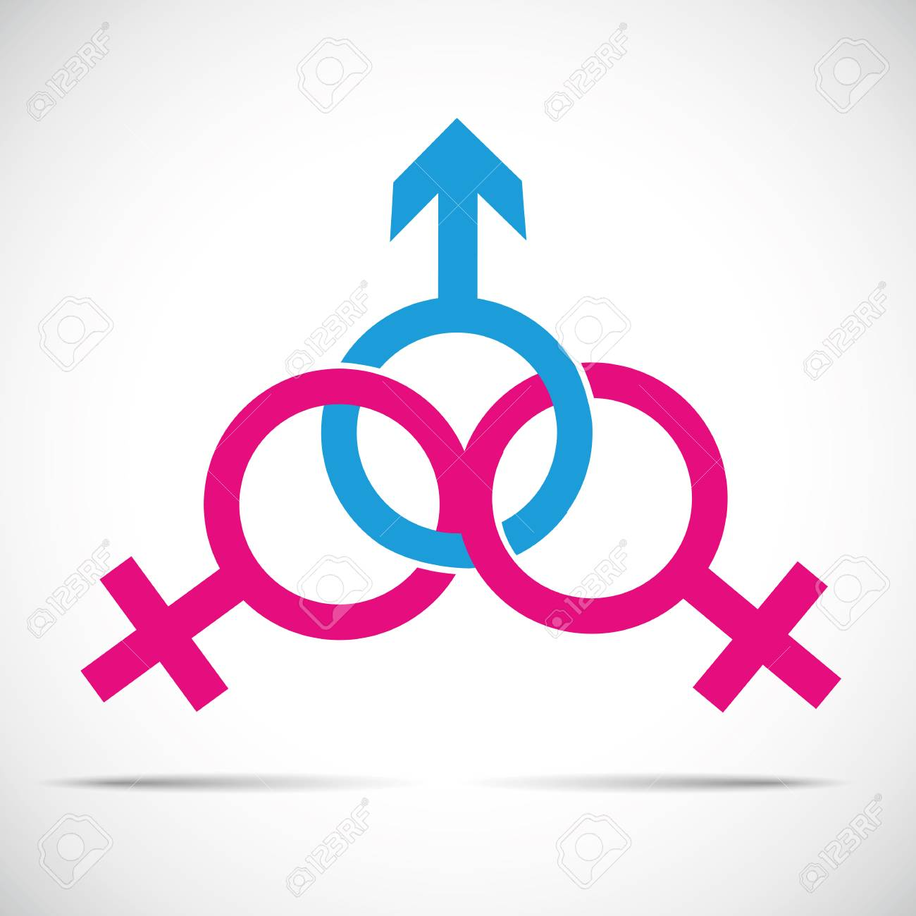 cheat partner relationship and fraud one male and two female symbol vector illustration EPS10 - 126123475