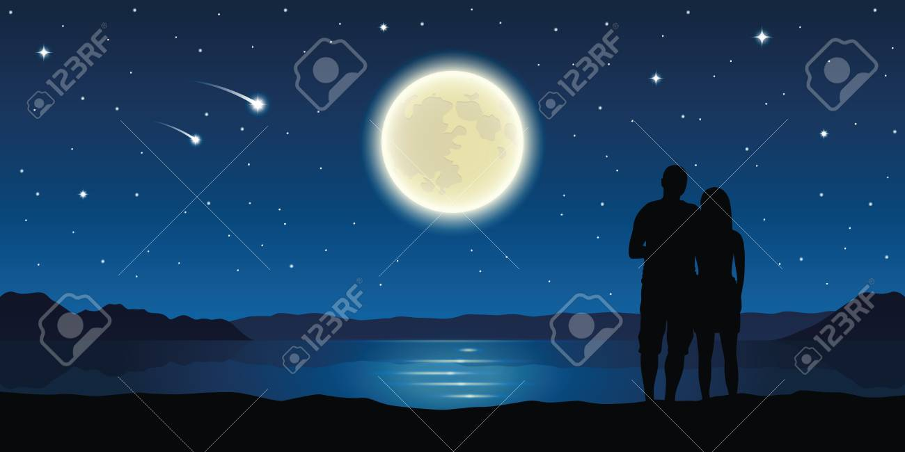 romantic night couple in love at the lake with full moon and falling stars vector illustration EPS10 - 115938861
