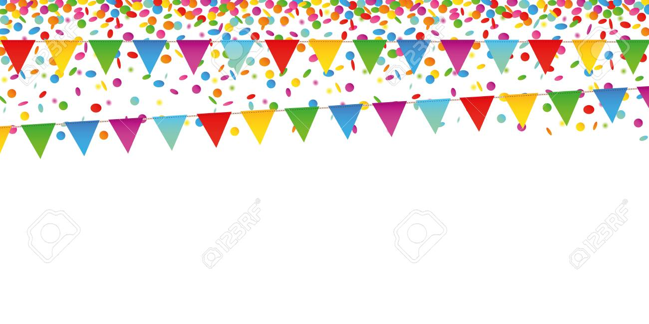 colorful confetti rain and party flags on white background vector illustration EPS10 - 117790928