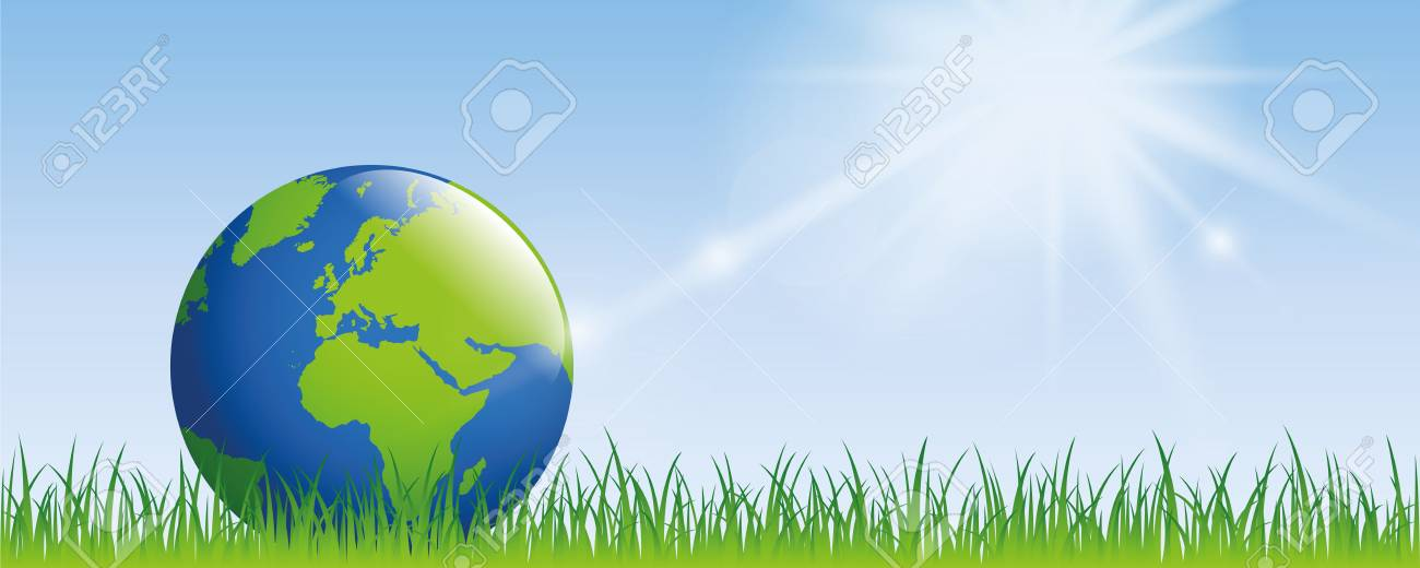 planet earth on green meadow with sunshine banner with copy space - 120364462