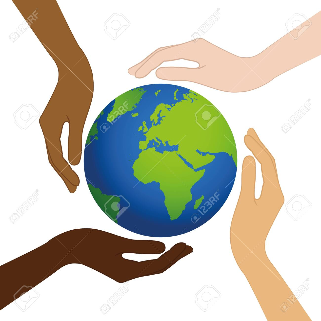 planet earth in the middle of human hands with different skin colors vector illustration EPS10 - 123912880