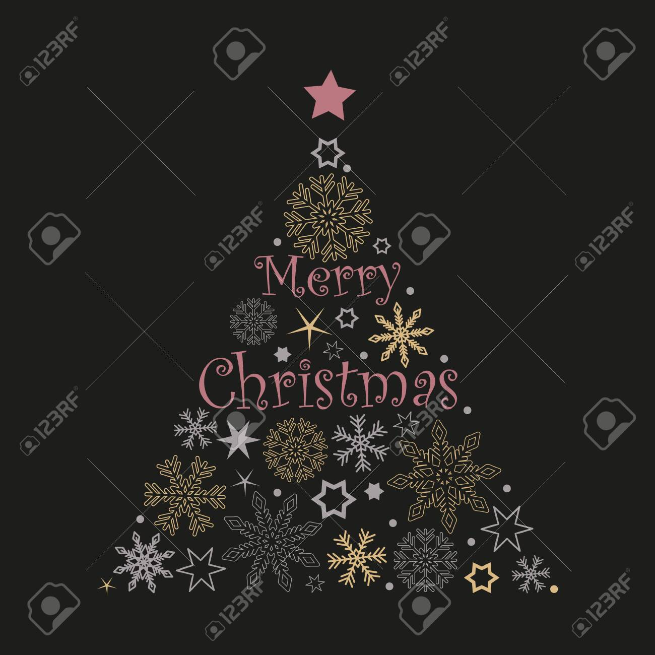 christmas tree snowflakes and stars in red and grey colors on white background vector illustration EPS10 - 131311783