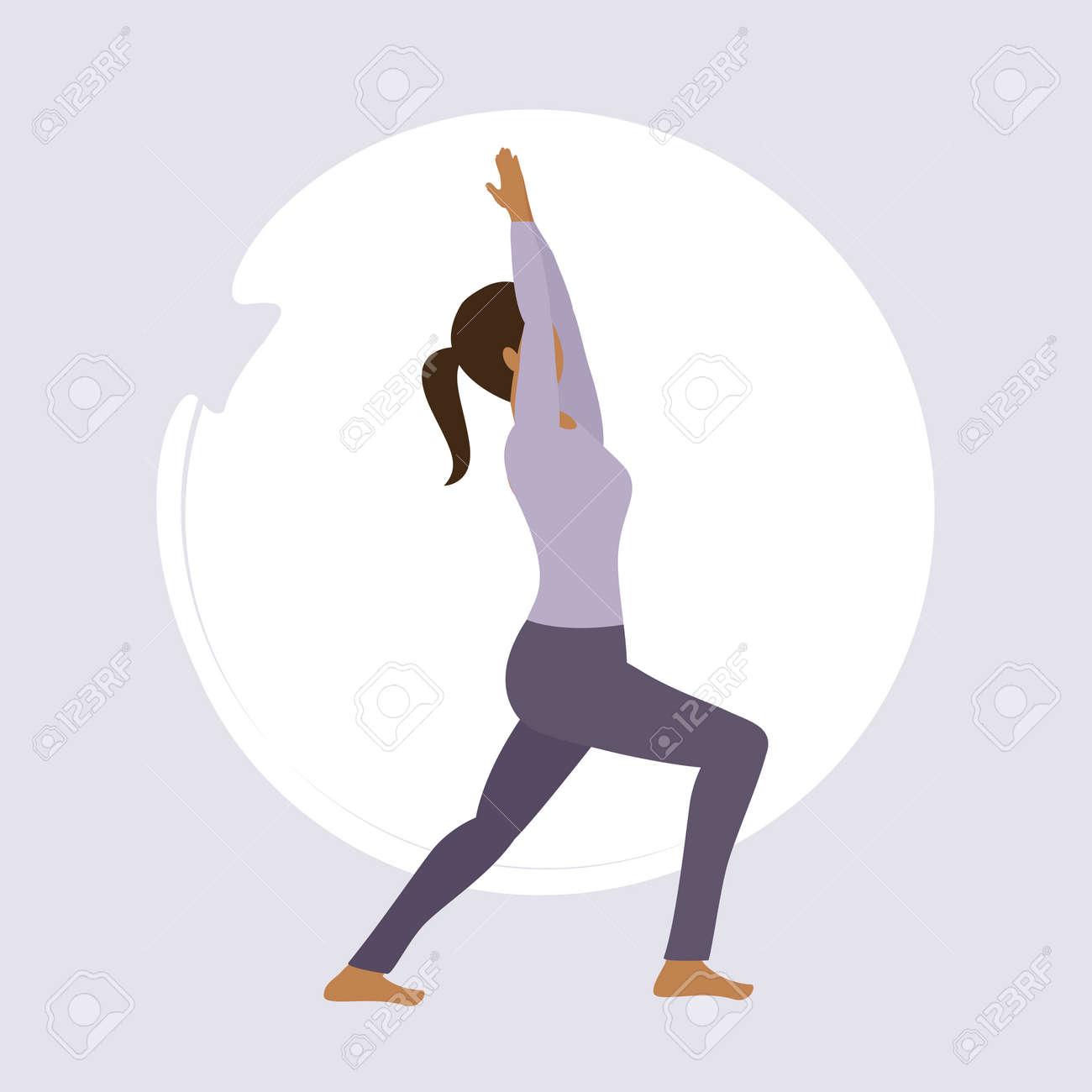 girl doing yoga exercise healthy lifestyle fitness design vector illustration - 168077364