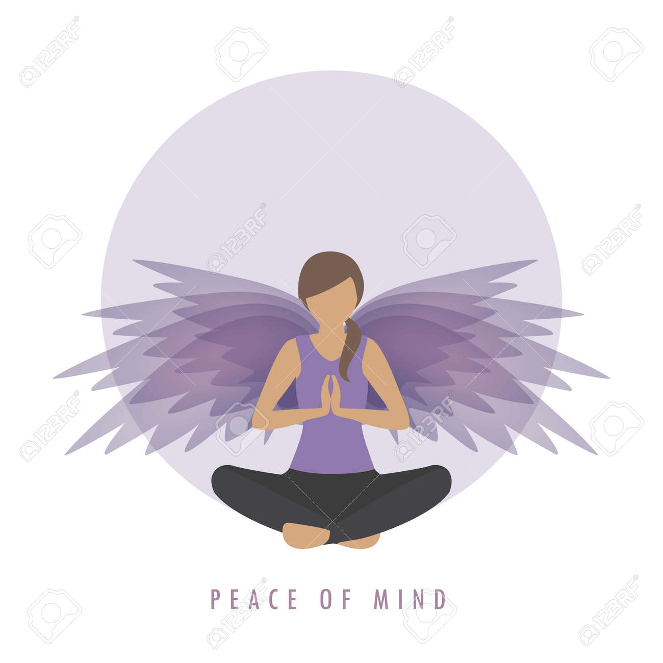 peace of mind girl in meditation pose with wings - 167505111