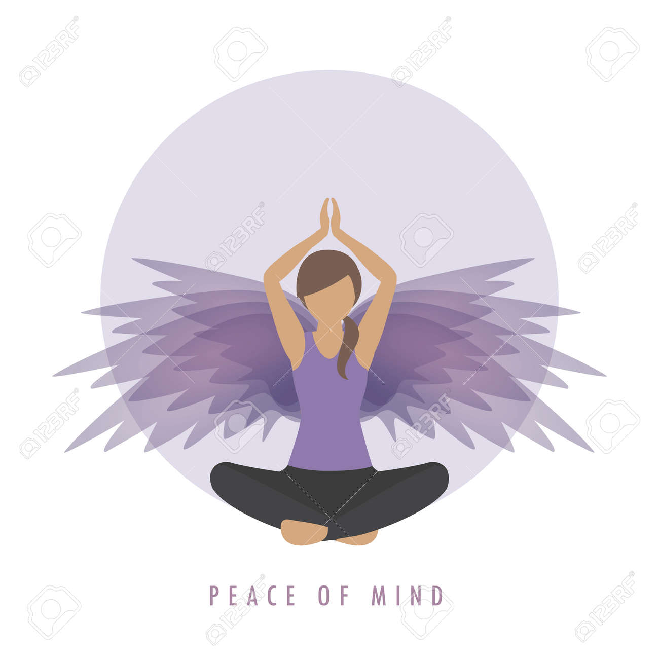peace of mind girl in meditation pose with wings - 167505113