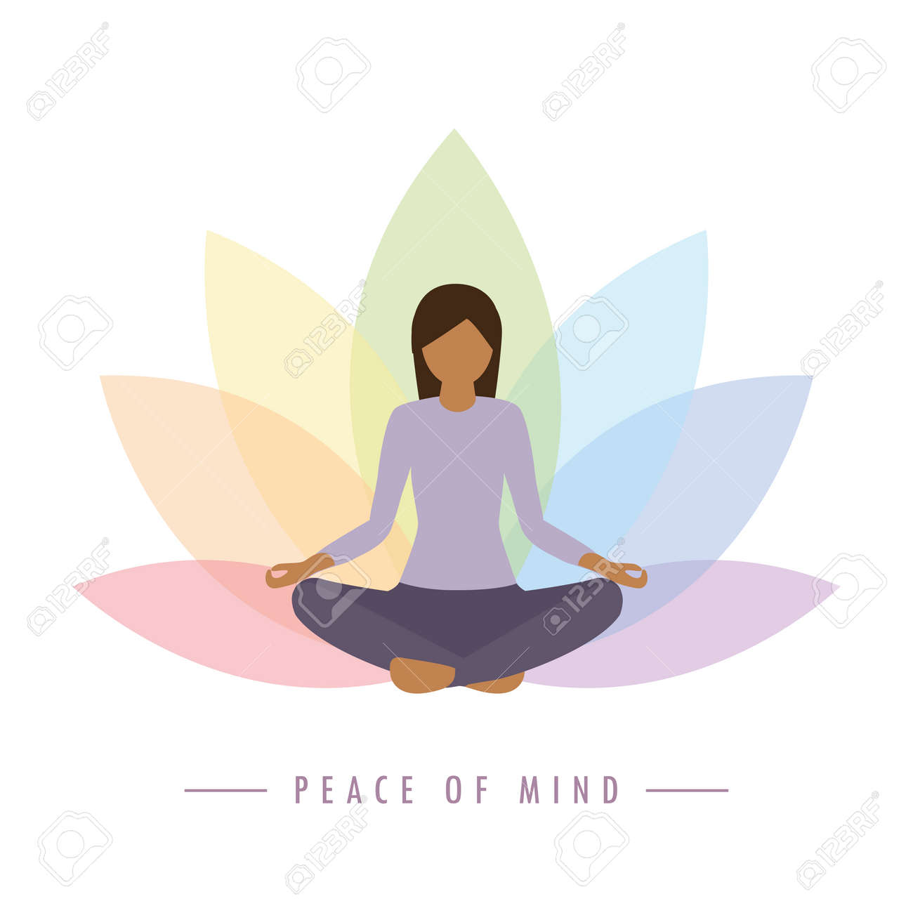 yoga girl on colorful lotus flower background peace of mind - 167505119