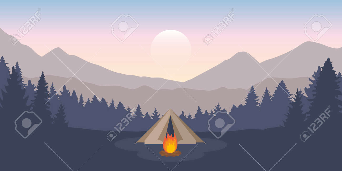 wanderlust camping adventure tent at green mountain and forest landscape - 167505123