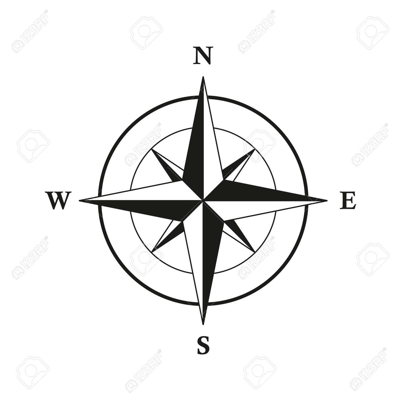 basic compass wind rose isolated on white background - 167505125