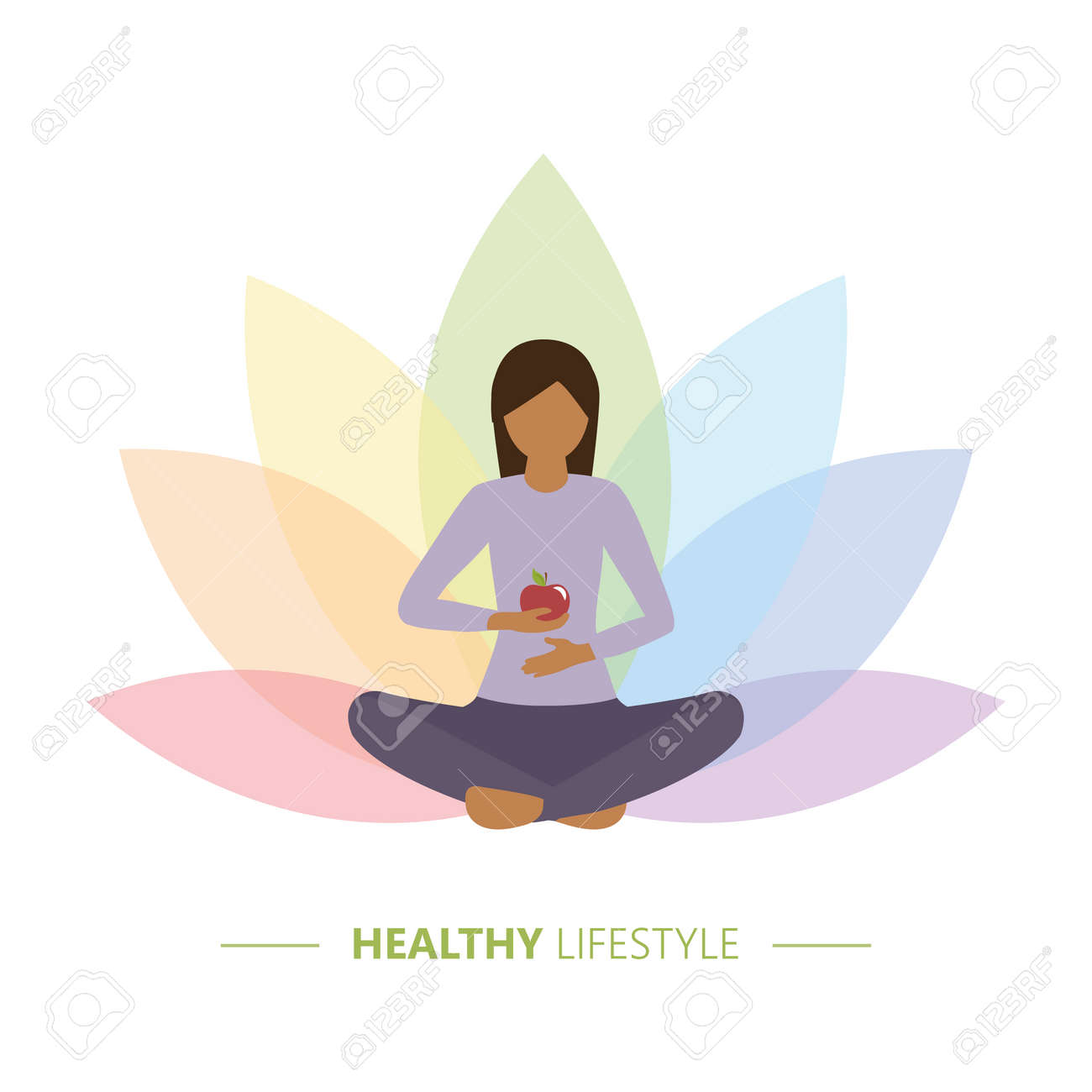 healthy yoga girl with apple on colorful lotus flower background - 169232444