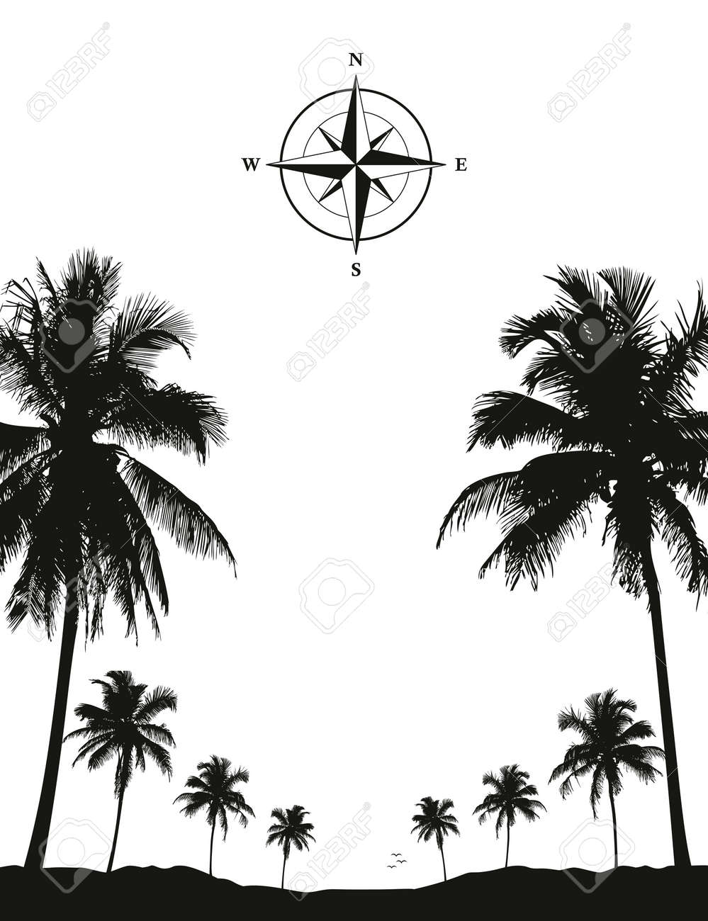luxury holiday palm tree silhouette background black and white - 169232449