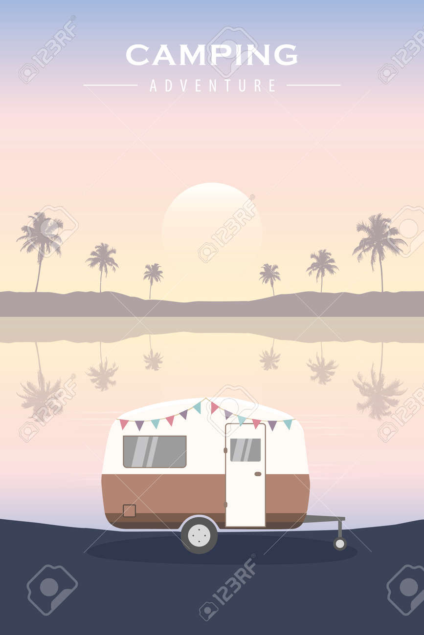 tropical camping adventure summer holiday with camper - 169841376