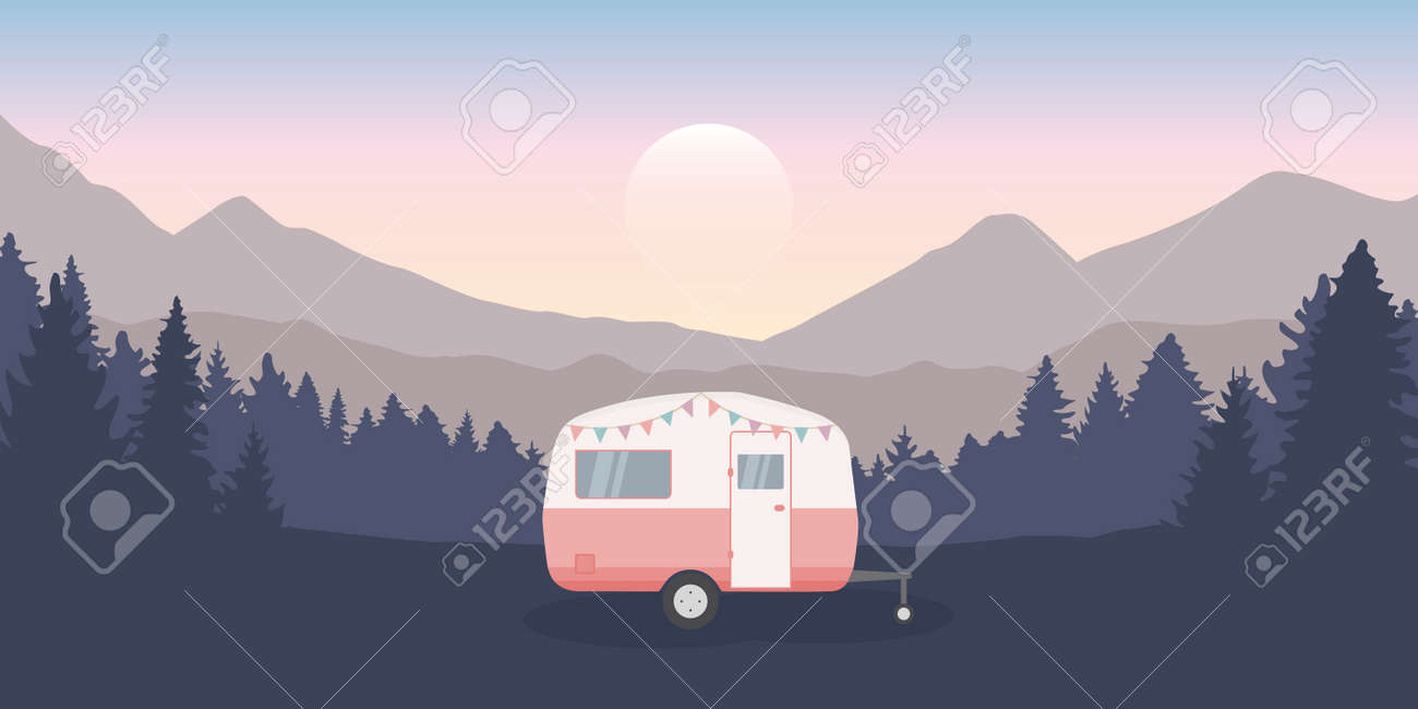 wanderlust camping adventure in the wilderness with camper - 169841379