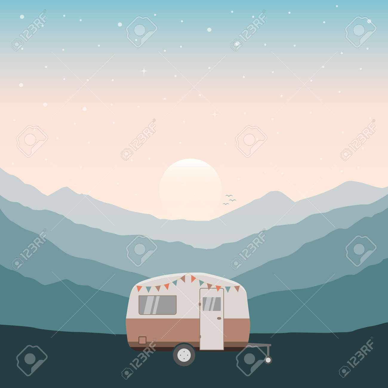 camper summer holiday on a road trip - 169841380