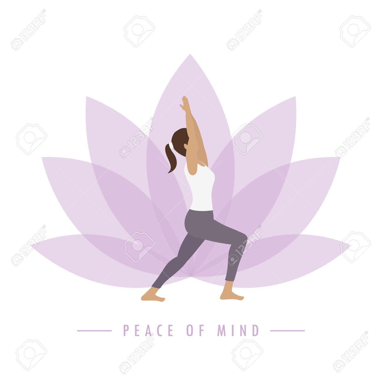yoga girl on colorful lotus flower background peace of mind - 169841382