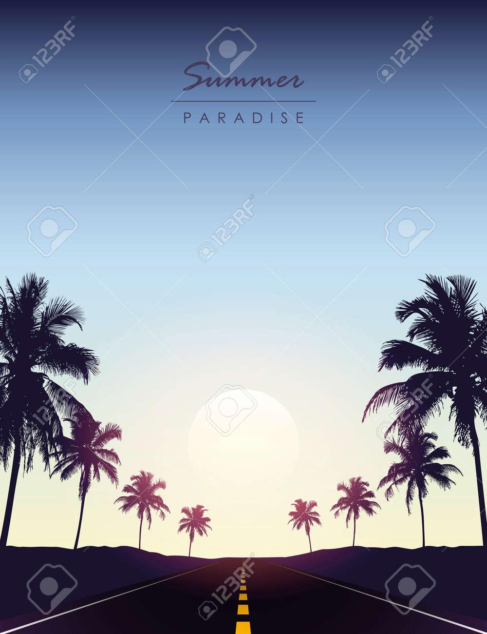 summer paradise road trip beautiful sunset tropical palm - 169841385
