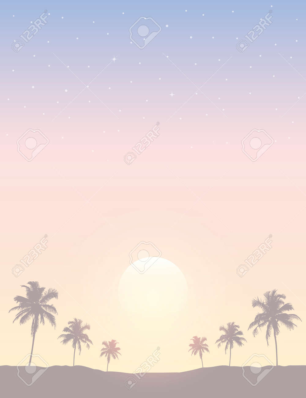 beautiful sunset on tropical palm tree silhouette background - 169841388