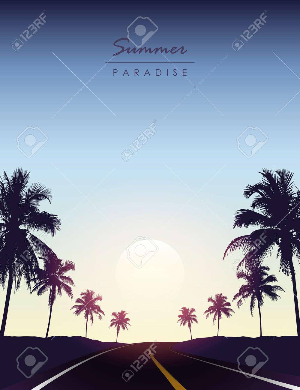 summer paradise road trip beautiful sunset tropical palm - 169841402