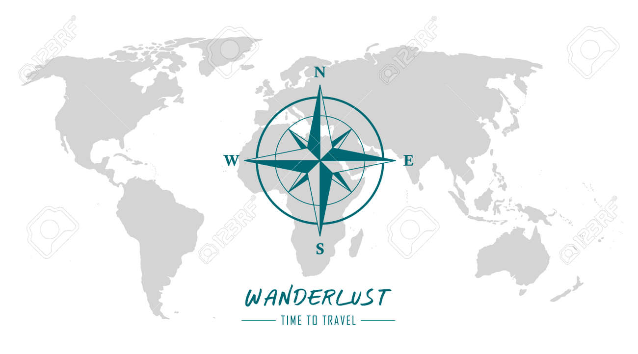 world map with compass wind rose wanderlust travel - 169841411