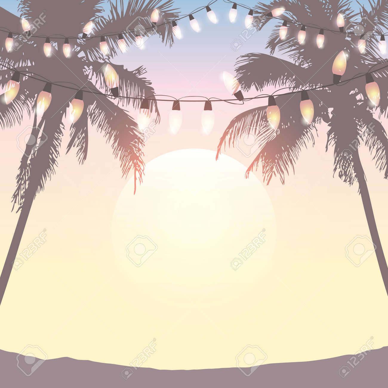 summer holiday design sea at sunset with fairy light and palm trees - 169841415