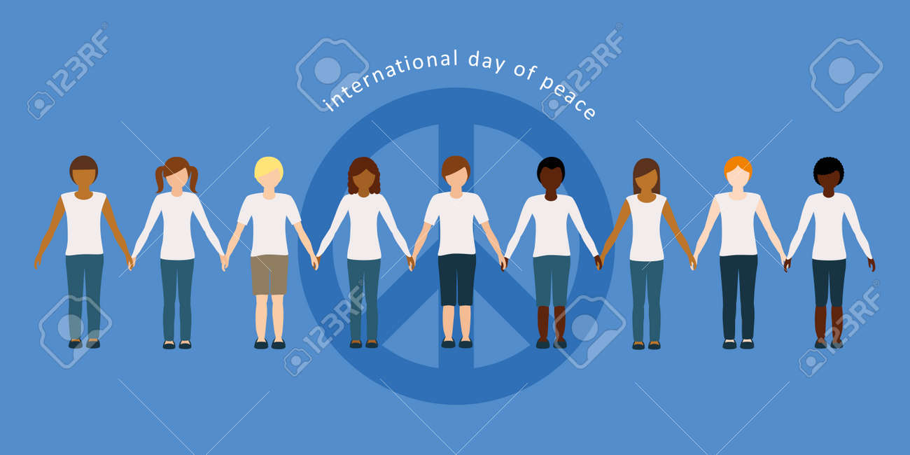 children of different skin color hold each others hands on international day of peace - 169841424