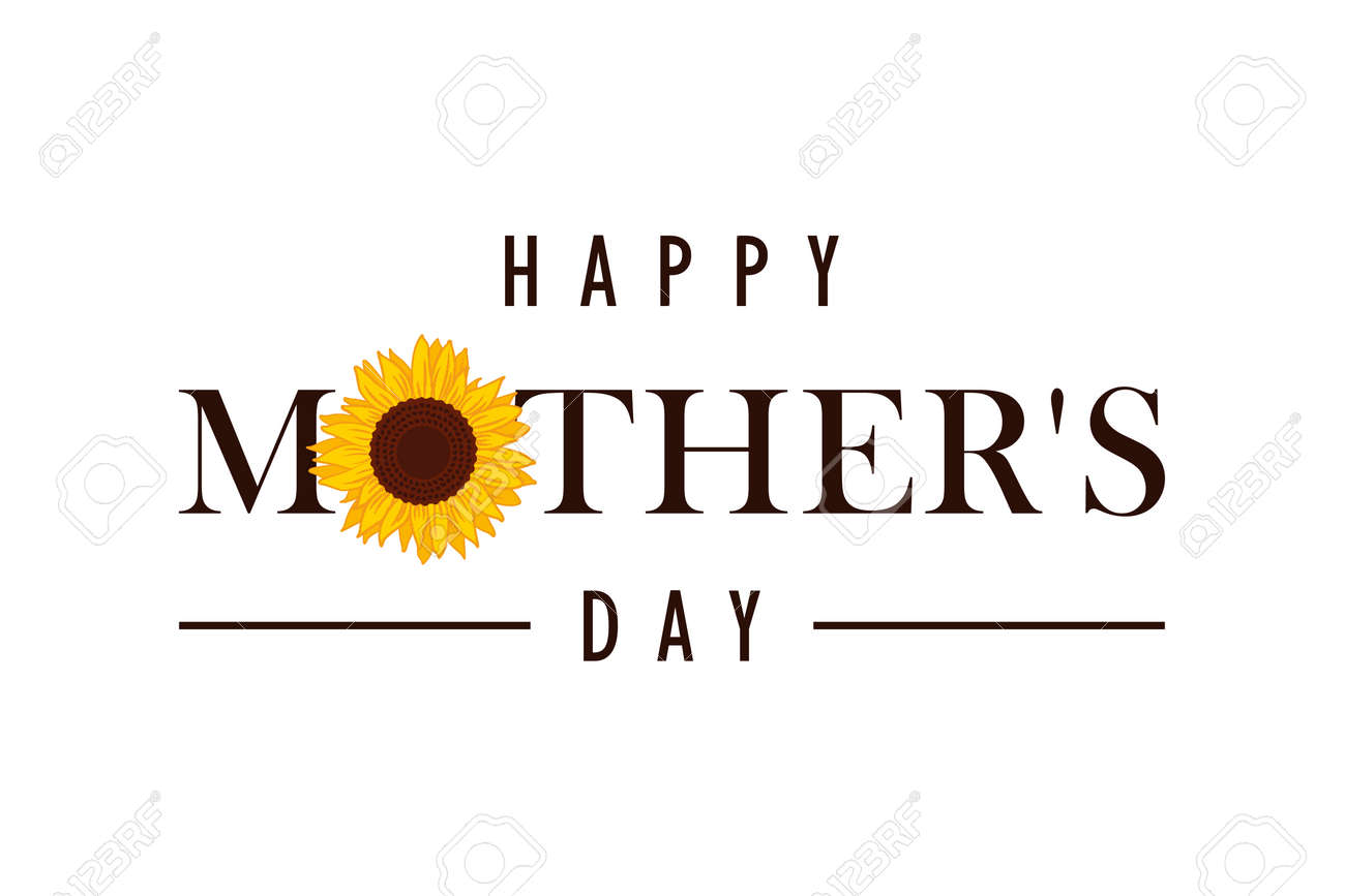 happy Mothers Day greeting banner with sunflower - 169232466