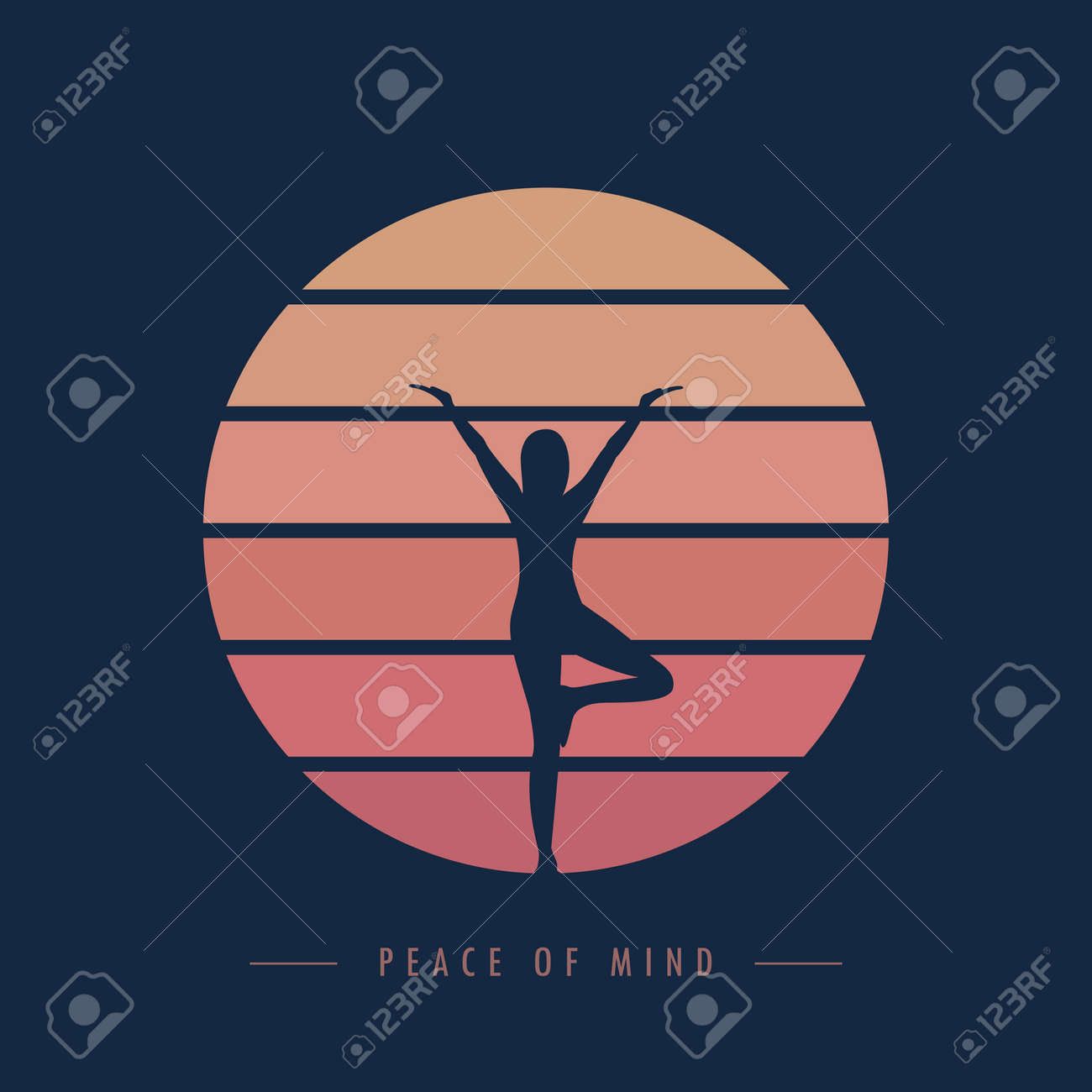 peace of mind yoga meditaion person at sunset graphic - 169232468