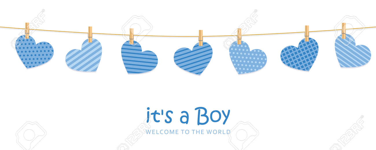 its a boy welcome greeting card for childbirth with hanging hearts - 170391057