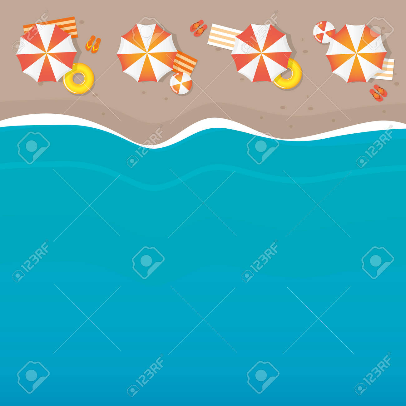 summer holiday on the beach parasol and wave background - 171596768