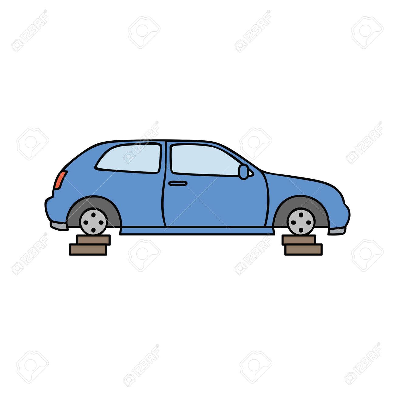 blue broken car scrap metal vector illustration - 171583125