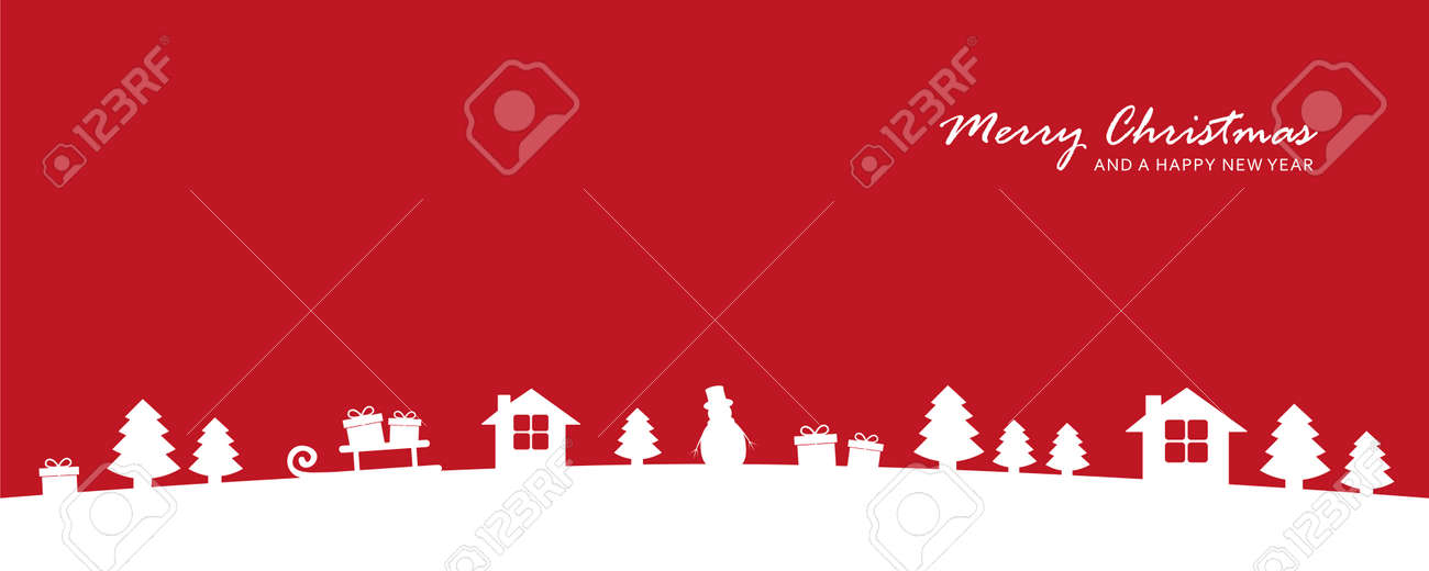 red christmas valley winter banner with fir house and gift - 171596770
