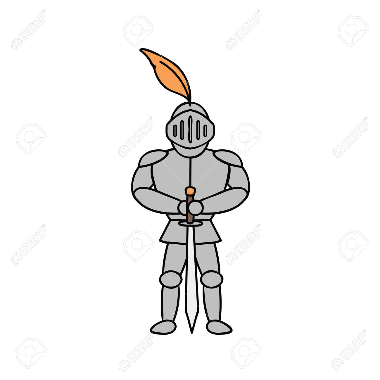 knight in armor illustration on white background - 172106827
