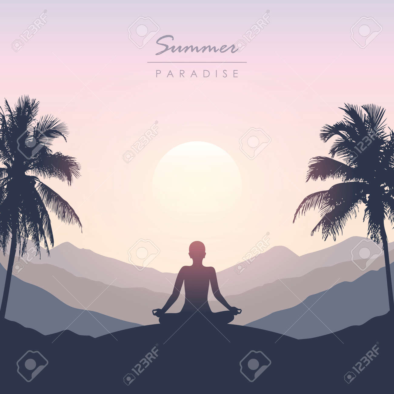 peace of mind meditation concept silhouette with mountain palm background - 172106828