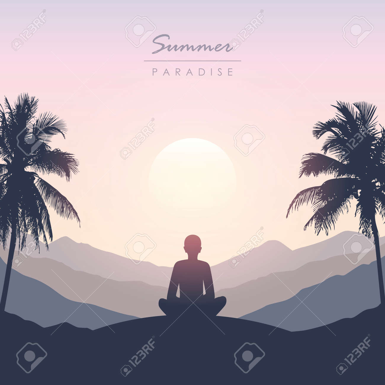 peace of mind meditation concept silhouette with mountain palm background - 172106829