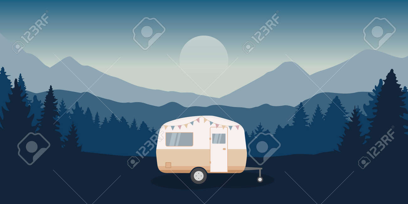 wanderlust camping adventure in the wilderness with camper - 171673785