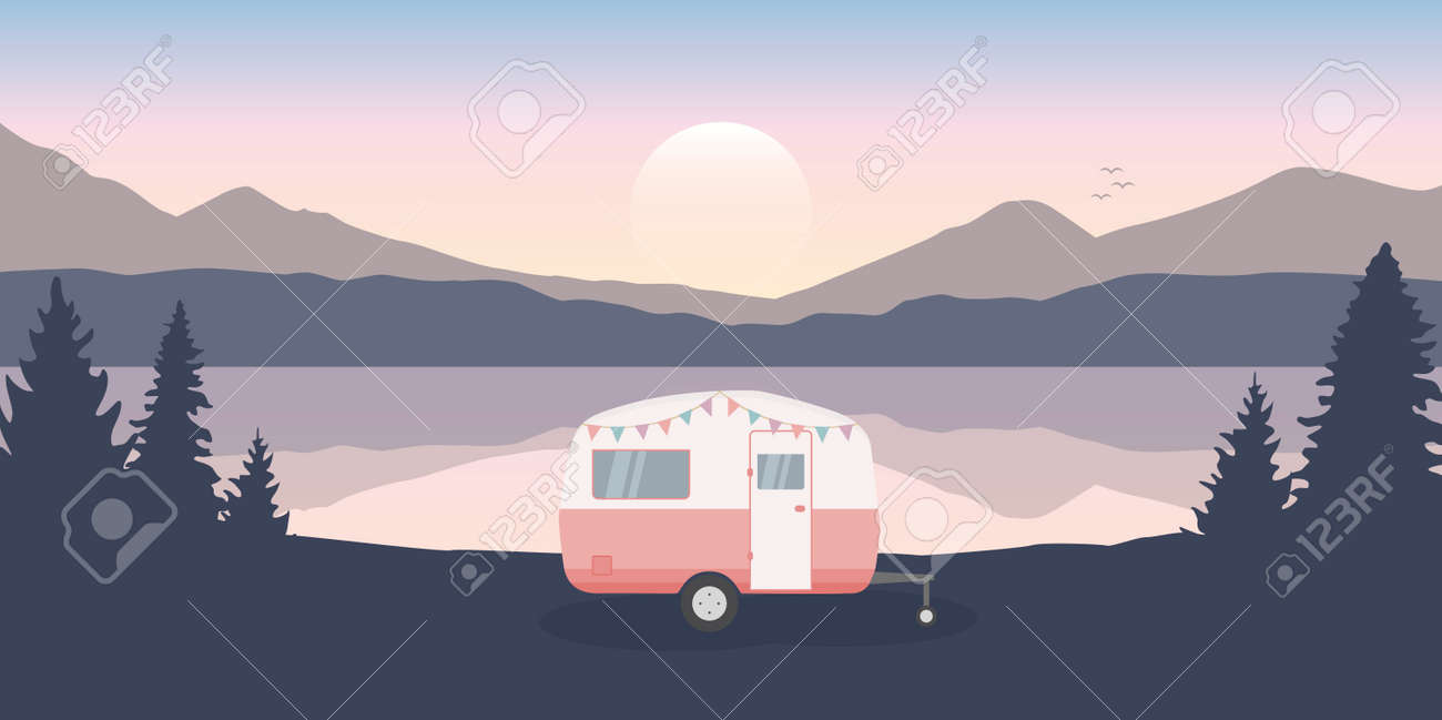 wanderlust camping adventure in the wilderness with camper by the lake - 171673558