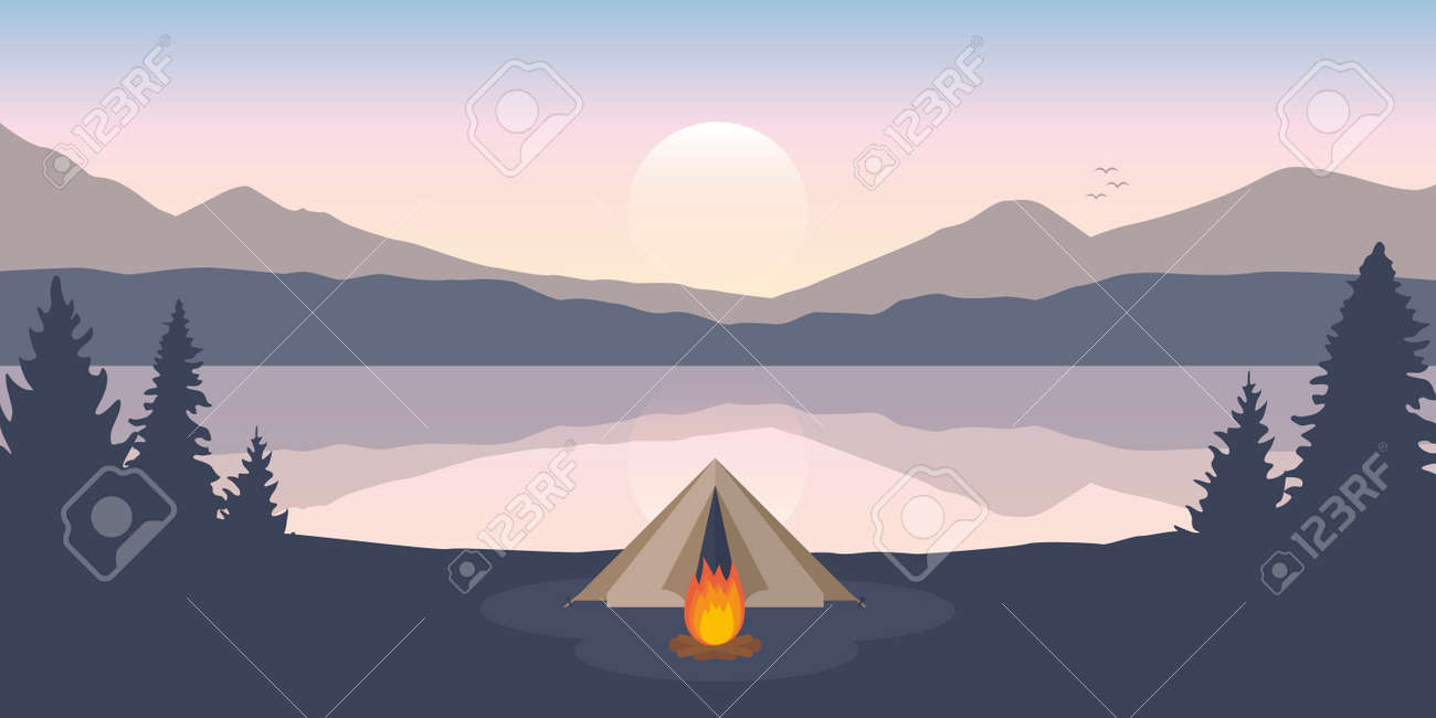 wanderlust camping adventure tent on mountain forest landscape by the lake - 171673599