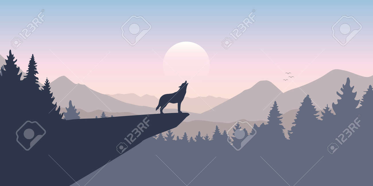 wolf howls to the full moon in forest on mountain landscape - 171900433