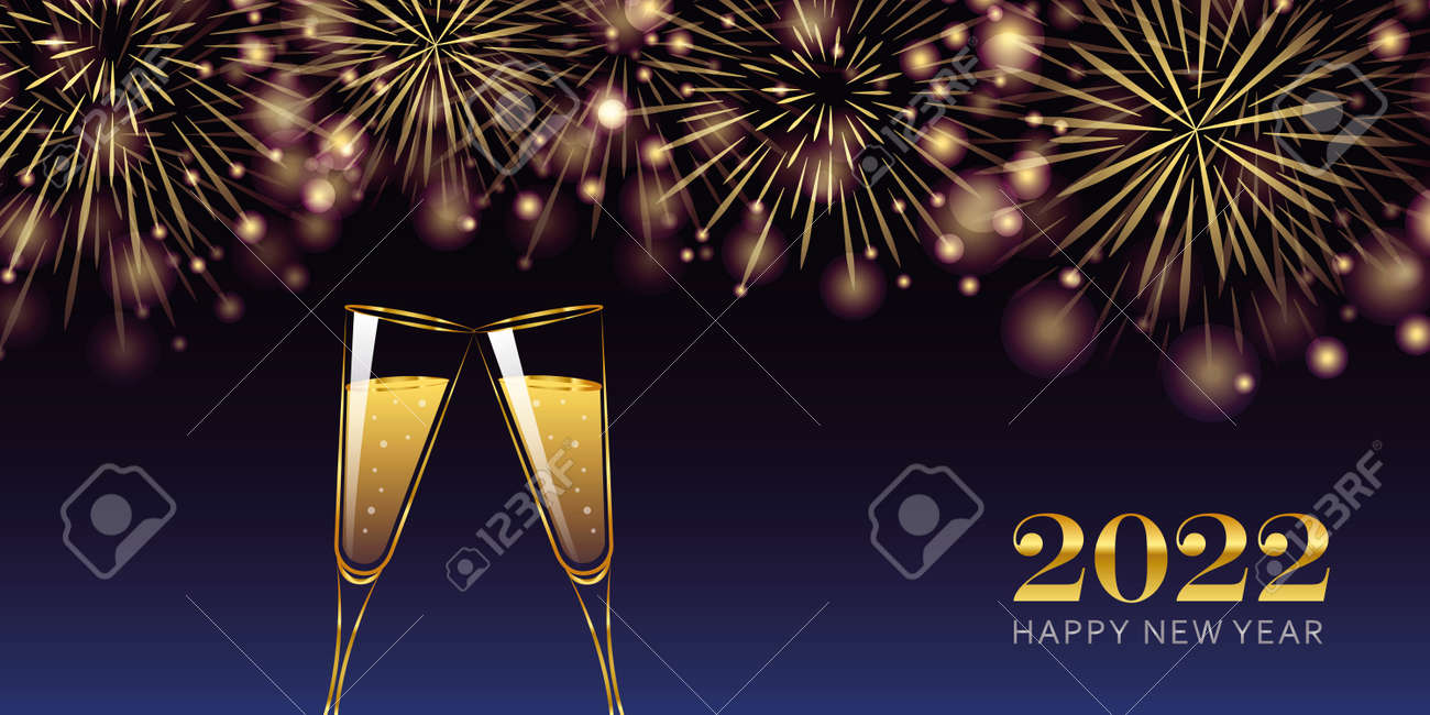 happy new year 2022 golden firework and champagne glasses greeting card - 172106834