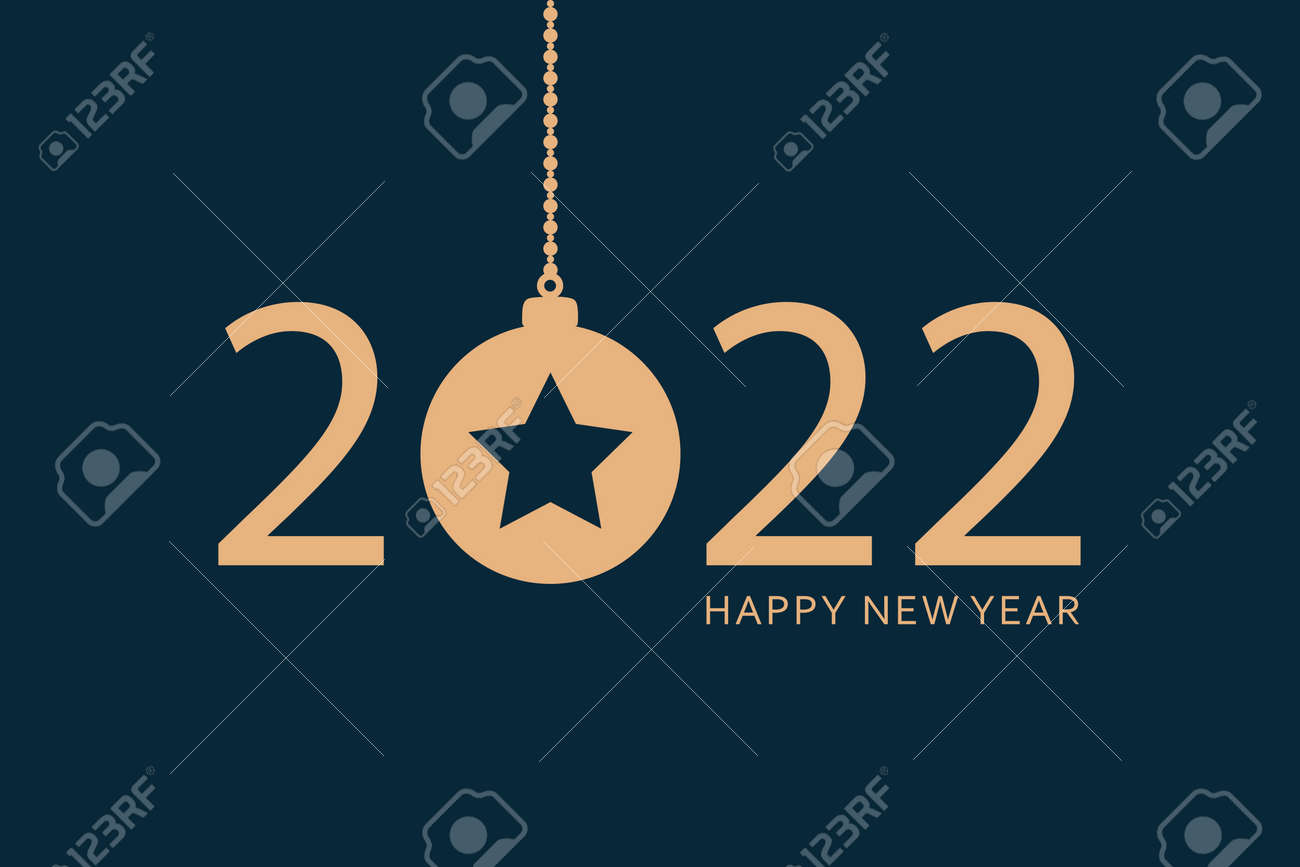 happy new year 2022 typography with hanging christmas ball - 172090327